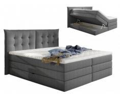 Pack boxspring de cabecero + somier abatible + colchón + cubre colchón PLAISIR de PALACIO - tela gris - 2x80x200cm