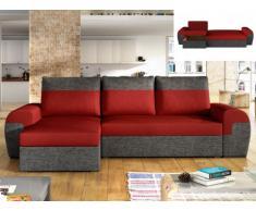 Sofá-cama rinconero y reversible de tela GABY - Bicolor rojo y antracita