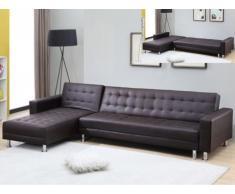 Sofá cama rinconero WILLIS - Ángulo reversible - Piel sintética - Chocolate