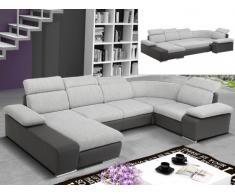 Sofá cama rinconero XXL de tela y piel sintética CYRANO - Bicolor gris claro/gris antracita - Ángulo izquierdo