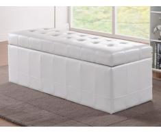 Banco cofre de piel sintética con espacio de almacenamiento WAGNER II - Blanco