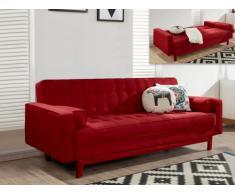 Sofá cama clic-clac de tela ELEANOR - Rojo burdeos