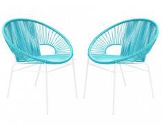 Conjunto de 2 sillones para jardín KELIOS de fibras de resina trenzada - Turquesa