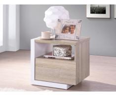 Mesa de noche NAPOLI - 1 cajón - Color roble y blanco