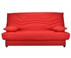 Sofá cama clic-clac SALOON 100% algodón con baúl de almacenamiento - Rojo coral