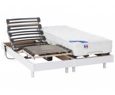 Cama eléctrica muelles ensacados y viscoelástica APOLLO de DREAMEA - Blanco - 2x90x200 cm