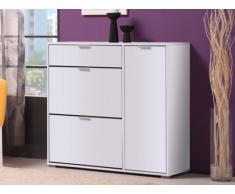Mueble zapatero ARIETTA - 2 compartimentos, 1 puerta y 1 cajón - Color blanco