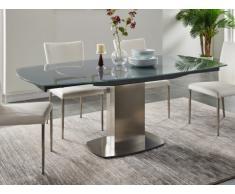 Mesa de comedor extensible TALICIA - Cristal templado y metal - 6 a 8 cubiertos - Color Gris