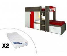 Cama litera JULIEN - 2x90x190 cm - Armario integrado - 3 colores - Marrón topo y rojo + 2 colchones ZEUS 90x190
