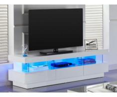 Mueble TV FABIO - MDF lacado blanco - LEDS - 3 cajones & 3 huecos