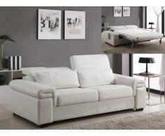 REBAJAS-Sofá cama italiano 3 plazas de piel sintética LOUISA II - Blanco