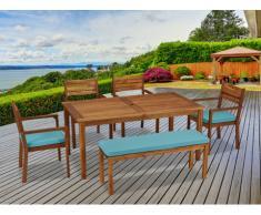 Comedor de jardín KOCHI de madera de acacia: una mesa, un banco de 2 plazas, 4 sillones