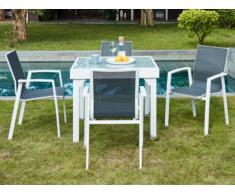 Comedor de jardín SALYAN de aluminio - una mesa extensible 90/180cm + 4 sillones - Asiento antracita