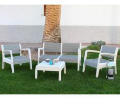 Conjunto de jardín MIAMI de PVC: 2 sillones, un sofá 2 plazas y una mesa de centro - estructura blanca y asiento gris