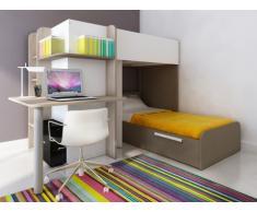 Cama litera SAMUEL - 2x90x190 cm - Escritorio integrado - Pino blanco/chocolate