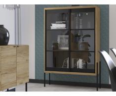 Vitrina industrial MEMPHIS - 2 puertas correderas de cristal - Color castaño y negro