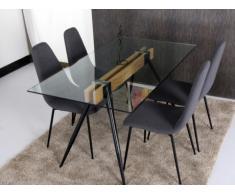 Mesa de comedor TIMIA - 6 comensales - Cristal templado y acero - Color negro