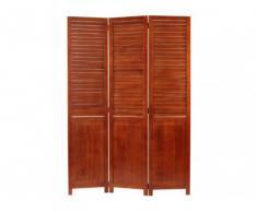 Biombo 3 paneles TIBBY de paulownia - 120 x 170 cm - Efecto persiana - Marrón