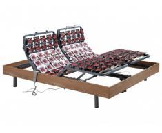 Somier eléctrico multiterminal con estructura de madera de roble color marrón topo de DREAMEA - 2x80x200 cm motores OKIN