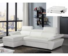 Sofá cama rinconero de piel JONOVA - Blanco - Ángulo izquierdo