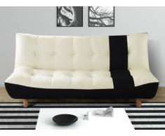 Sofá cama clic-clac 3 plazas de piel sintética y tela VINCENT - Negro y blanco