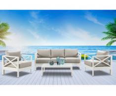 Salón de jardín SERAM de aluminio blanco y cojines gris arenoso : un sofá, 2 sillones y una mesa