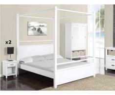 Pack Dormitorio GUERANDE - Cama con dosel 140x190 cm + 2 mesas de noche - Pino blanco