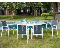 Comedor de jardín SALYAN de aluminio - una mesa extensible 90/180cm + 6 sillones - Asiento antracita