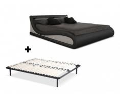 Cama ZALARIS + somier de láminas - 160x200 cm - Piel sintetica negra con leds