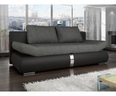 Sofá cama de 2 plazas JADEN tapizado de tela y piel sintética - Bicolor negro y gris antracita