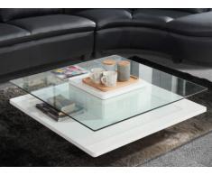 Mesa de centro ISANIA - Cristal templado y MDF blanco