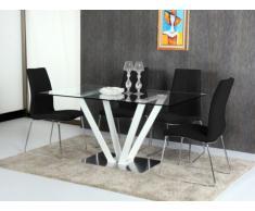 Mesa de comedor CLEONICE - 6 cubiertos - Cristal templado y acero - Blanco