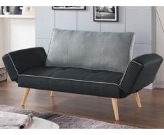 Sofá cama clic-clac EBATY tapizado de tela - Gris antracita y celeste