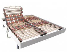 Somier eléctrico de láminas y 2x25 terminales de madera blanca DREAMEA - 2x80x190 cm - Motores OKIN
