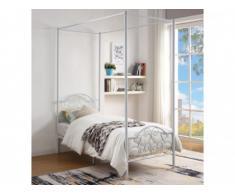 Cama con dosel LEYNA - 90x190cm - Metal - Blanco