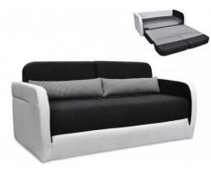Sofá cama 2 plazas de tela y piel sintética VILO - Blanco y gris antracita
