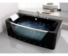 Bañera de hidromasaje acristalada con leds DYONA - 1 plaza - 260 L - 85x170x58cm - Negra