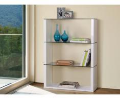 Estantería PLUTON - 3 estantes - Alto 123 cm - MDF lacado y cristal templado