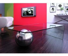 Mesa de centro MUNDO - Cristal templado y acero