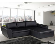 Sofá cama rinconero tapizado de piel sintética TIPHAINE - Negro - Ángulo derecho