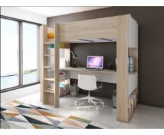 Cama alta NOAH con escritorio y estantería integrados - 90x200cm