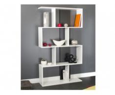 Estantería decorativa CYNTHIA - 4 compartimentos - Blanco/negro