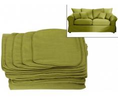 Funda de sofá 2 plazas de tela CLARA - Verde