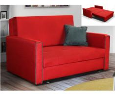 Sofá cama 2 plazas de tela VELLANI - Rojo con ribete gris claro