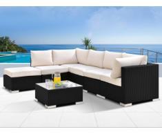Conjunto de jardín ALANDA: sofá 5 plazas + 1 puf + 1 mesa - Gris antracita
