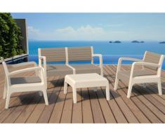 Conjunto de jardín MIAMI de PVC: 2 sillones, un sofá 2 plazas y una mesa de centro - Gris antracita y asiento beige