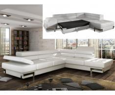 Sofá cama rinconero de piel sintética DAMIEN - Blanco - Ángulo derecho
