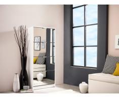 Mueble zapatero DORIANE - 4 compartimentos y espejos - Color blanco