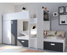 Cama litera JULIEN - 2x90x190 cm - Armario integrado - Pino blanco y negro
