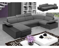 Sofá cama rinconero XXL de tela y piel sintética CYRANO - Bicolor gris antracita/negro - Ángulo izquierdo